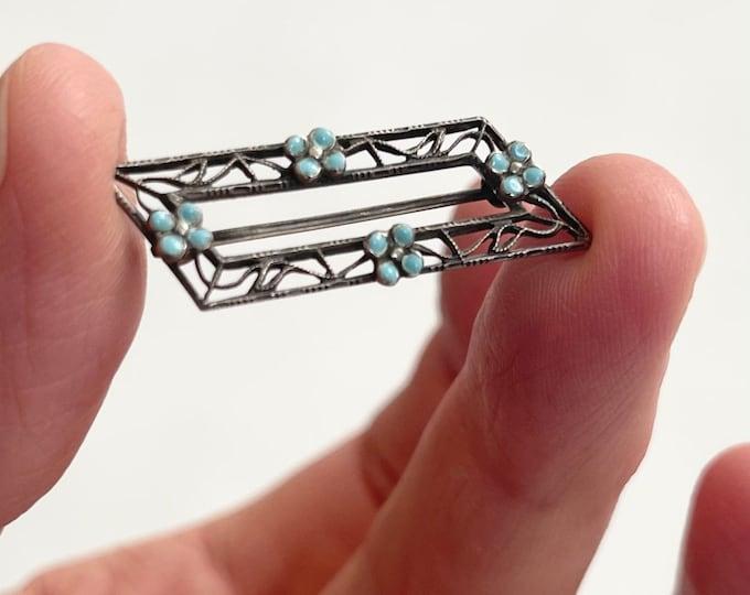 Delicate Victorian Sterling Pin Brooch Blue Enamel Flowers Flower Filagree Details Stamped Sterling Antique Jewelry