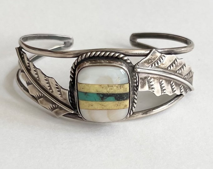 Navajo Sterling Silver Cuff Bracelet Vintage Native American Turquoise Mother of Pearl Flush Inlay Feather Leaf Detail Southwest Jewelry