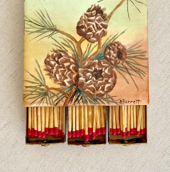 Porcelain Match Box Holder Case with Six Drawers Hand Painted Pinecones Pine Needles Artist Signed B Barrett