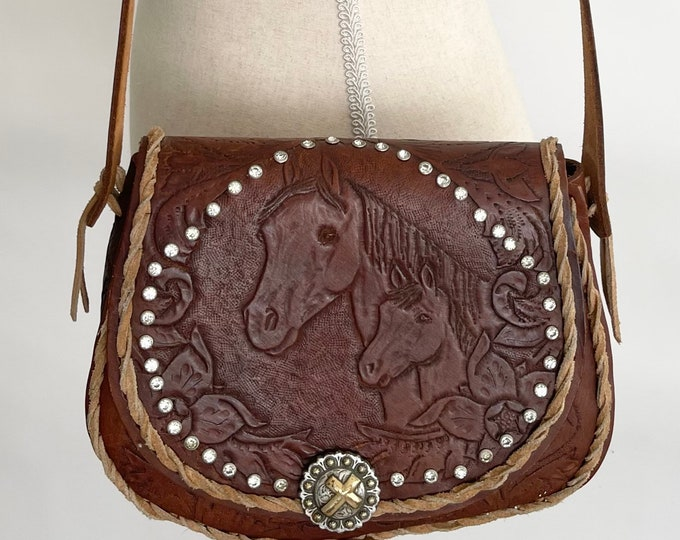 Horse Tooled Leather Purse Bag Diamante Studs Handmade Leather Goods Small Girl Child Teen Petite Woman Size