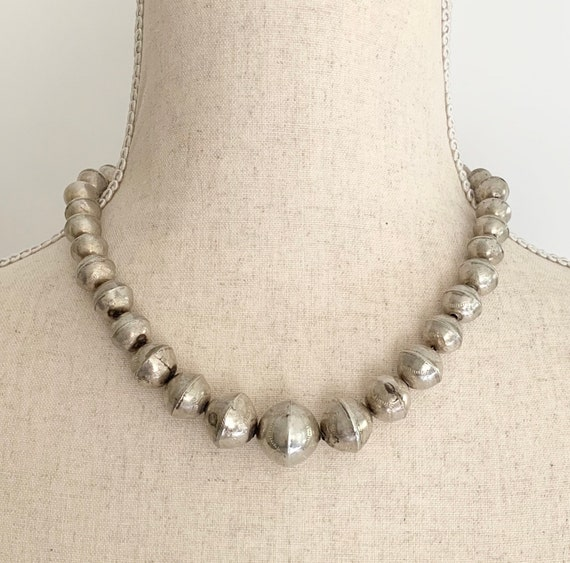 Old Navajo Pearl Bead Necklace Sterling Silver Vintage Native American Graduated Stamped Beads