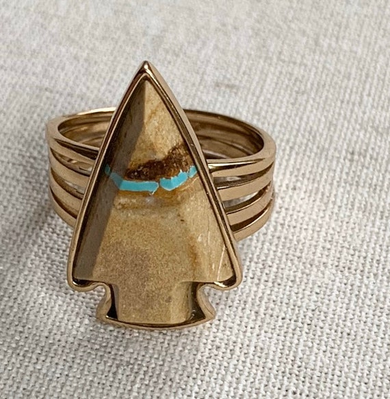Barse Boulder Turquoise Ring Vintage Designer Signed Natural Stone Arrowhead Gold Tone Finish Ring Size 9.25