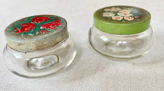 Vanity Glass Jar Containers Pair of Two Vintage Antique 40s Floral Tin Lid Lot of Two Shabby Chic Boudoir Vanity Set Bridal Shower Gift