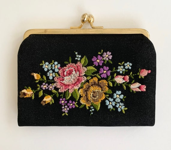 Floral Needlepoint Coin Purse Pouch Clutch Vintage Victorian Style Black with Gold Frame Flowers Victorian Style