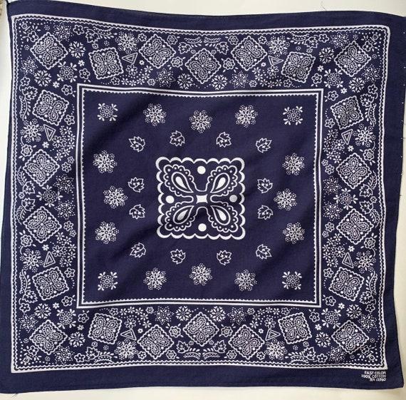 Lightweight Navy Blue Bandana Vintage Indigo Floral Print Fast Color 13960