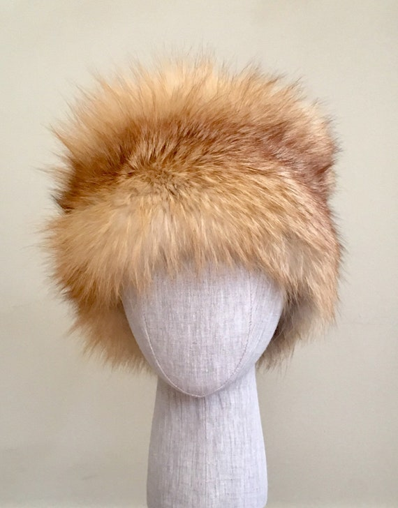 Red Fox Fur Head Wrap Glamorous Vintage Upcycle Velcro Closure Hat Winter Accessory