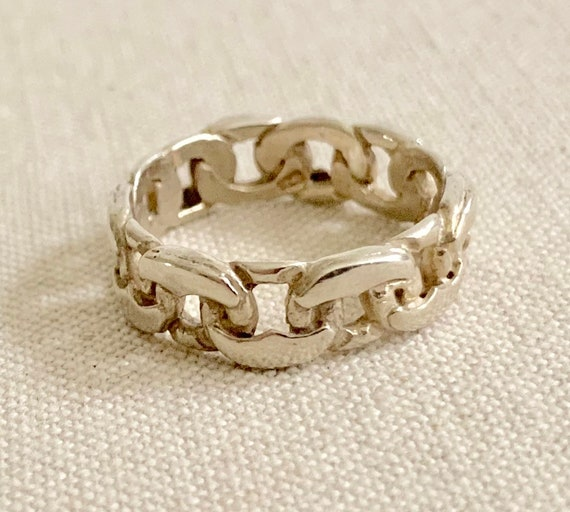 Chain Link Ring Band Sterling Silver Vintage Rings Simple Minimalist Stackable Links Size 7.5