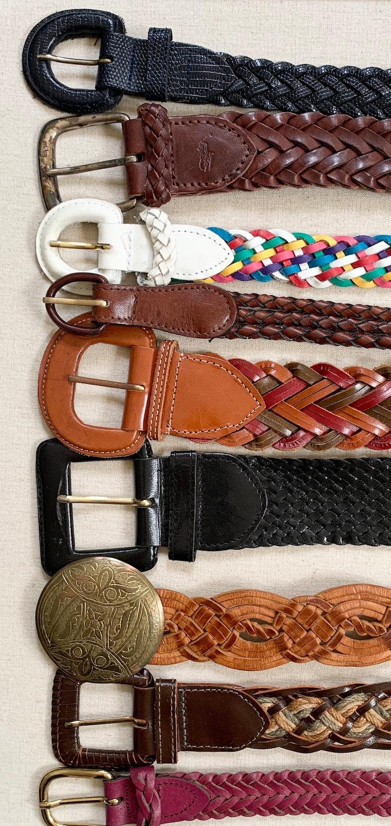 Braided Leather Belt Belts Vintage Leather Goods Woven Basketweave Woven Brown White Tan Black Mens Women/'s Belts