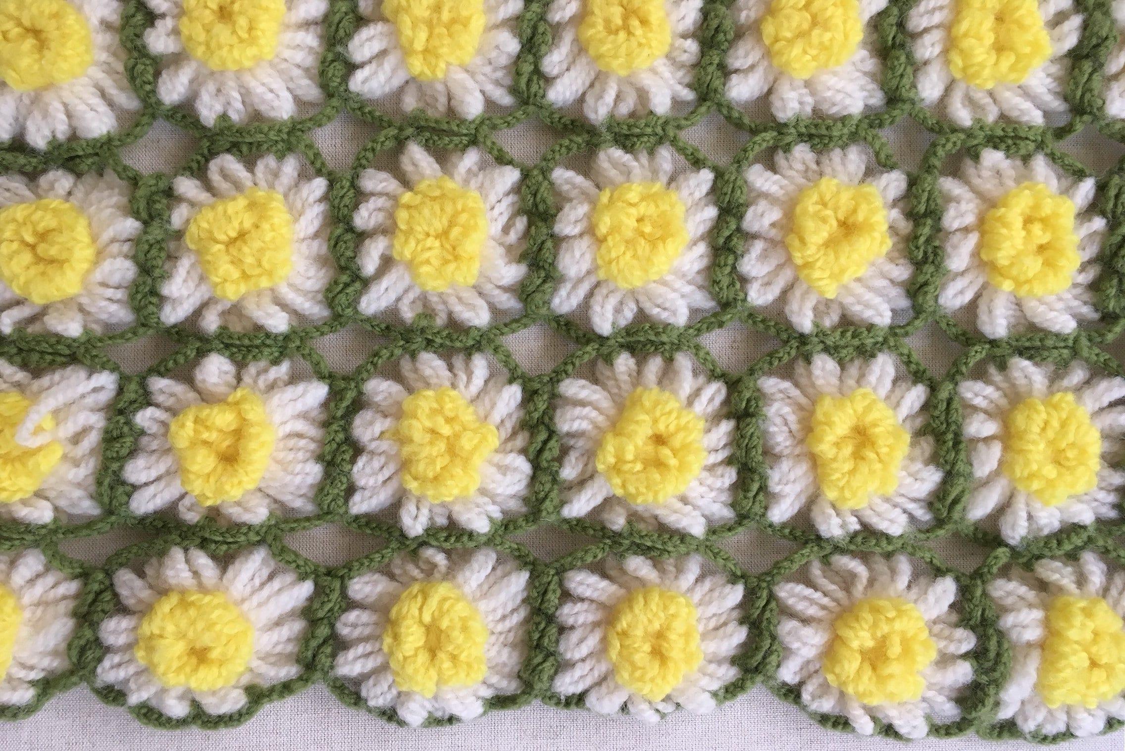 Wool daisy crochet blanket throw afghan vintage handmade hand knit wool daisy crochet blanket throw afghan vintage handmade hand knit white yellow flowers izmirmasajfo