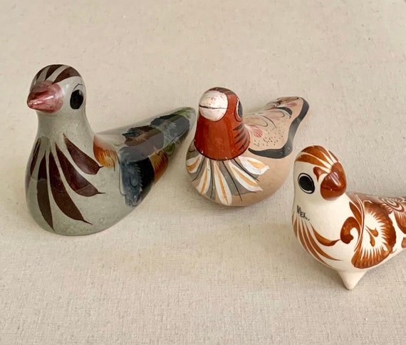Mexican Tonala Pottery Bird Figurines Vintage Folk Art Hand Painted Stoneware Miniature Animal