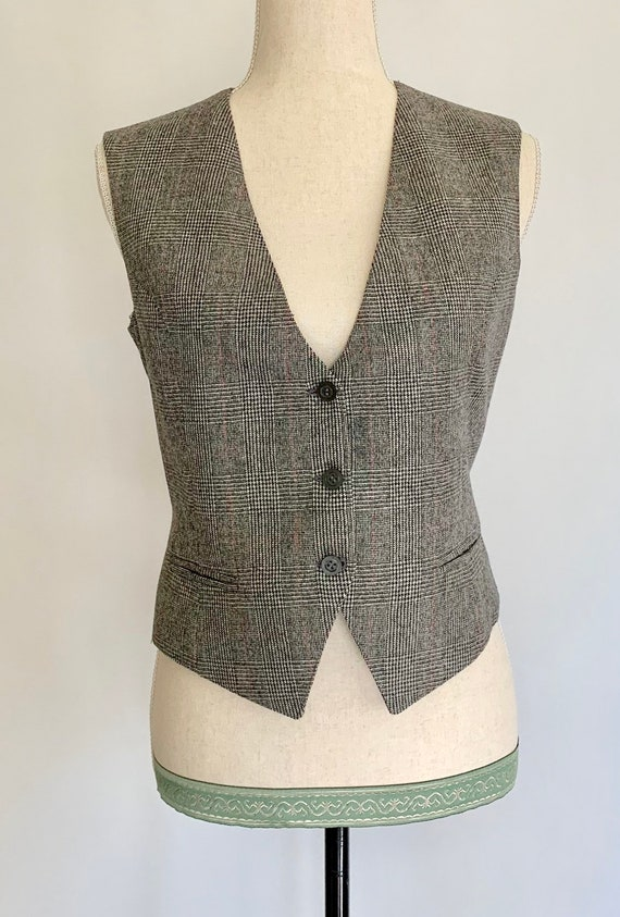 Womens Menswear Style Vest Black Gray White Plaid Vintage Vests Button Front Fitted Cropped Size XS