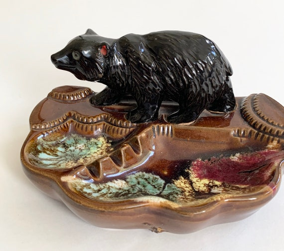 Mid Century Japan Ashtray Vintage Black Brown Glazed Ceramic Black Bear Retro Coffee Table Home Decor