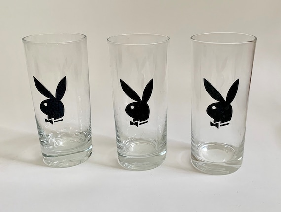 Playboy Water Glasses Tumblers Vintage Mid Century Cocktail Barware Set of 3 Black Bunny Head Hugh Hefner Playboy Club
