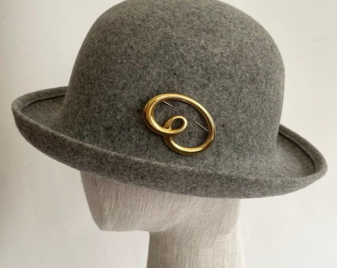 Annie Hall Bowler Hat Fedora Derby Style Vintage 80s Made in USA G.E.O. W. Bollman Doeskin Gray Grey 100% Felt Wool