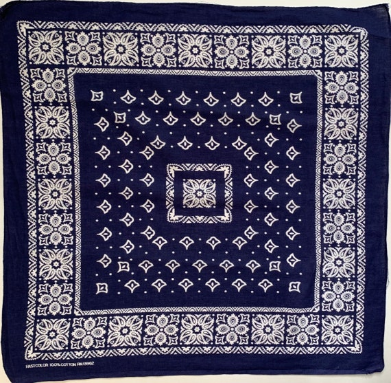 Indigo Blue Bandana Vintage Fast Color Geometric Paisley Print White Navy Blue Lightweight All Cotton RN 13962