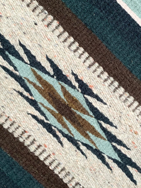 Southwest Wool Blanket Rug Vintage Handwoven Weaving Serape Style Fringe Edge Heather Beige Aqua Teal Khaki