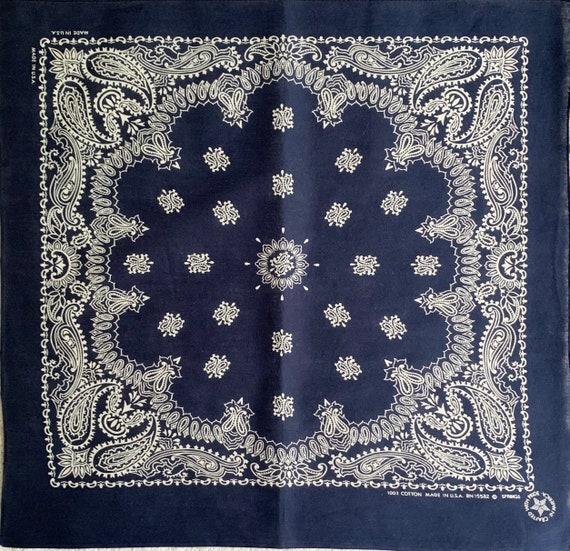 Lightweight Navy Blue Bandana Vintage 80s Indigo Floral Paisley Print Made in USA All Cotton RN 15582