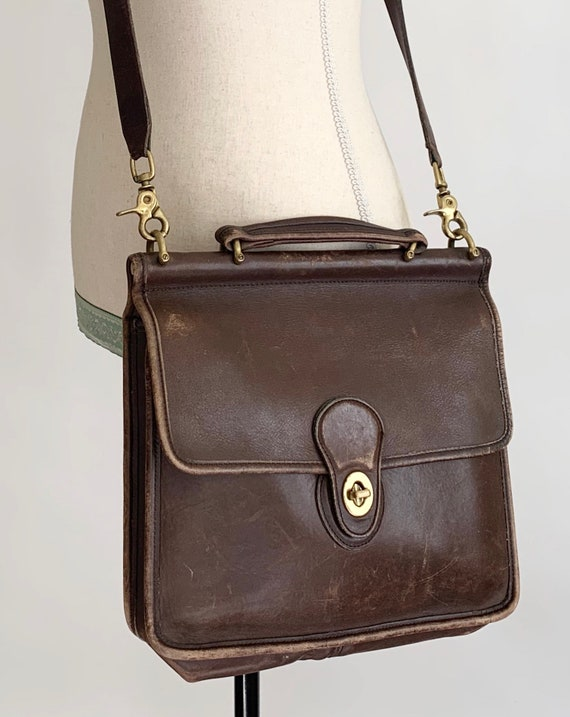 Distressed Coach Satchel Purse Vintage Soft Worn Brown Leather Crossbody Messenger Bag Brass Hardware