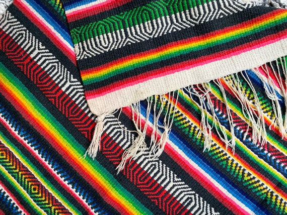 Colorful Mexican Throw Blanket Vintage 60s 70s Hand Woven Striped Wool Black White Red Blue Green Boho Home Decor Fringe Edges