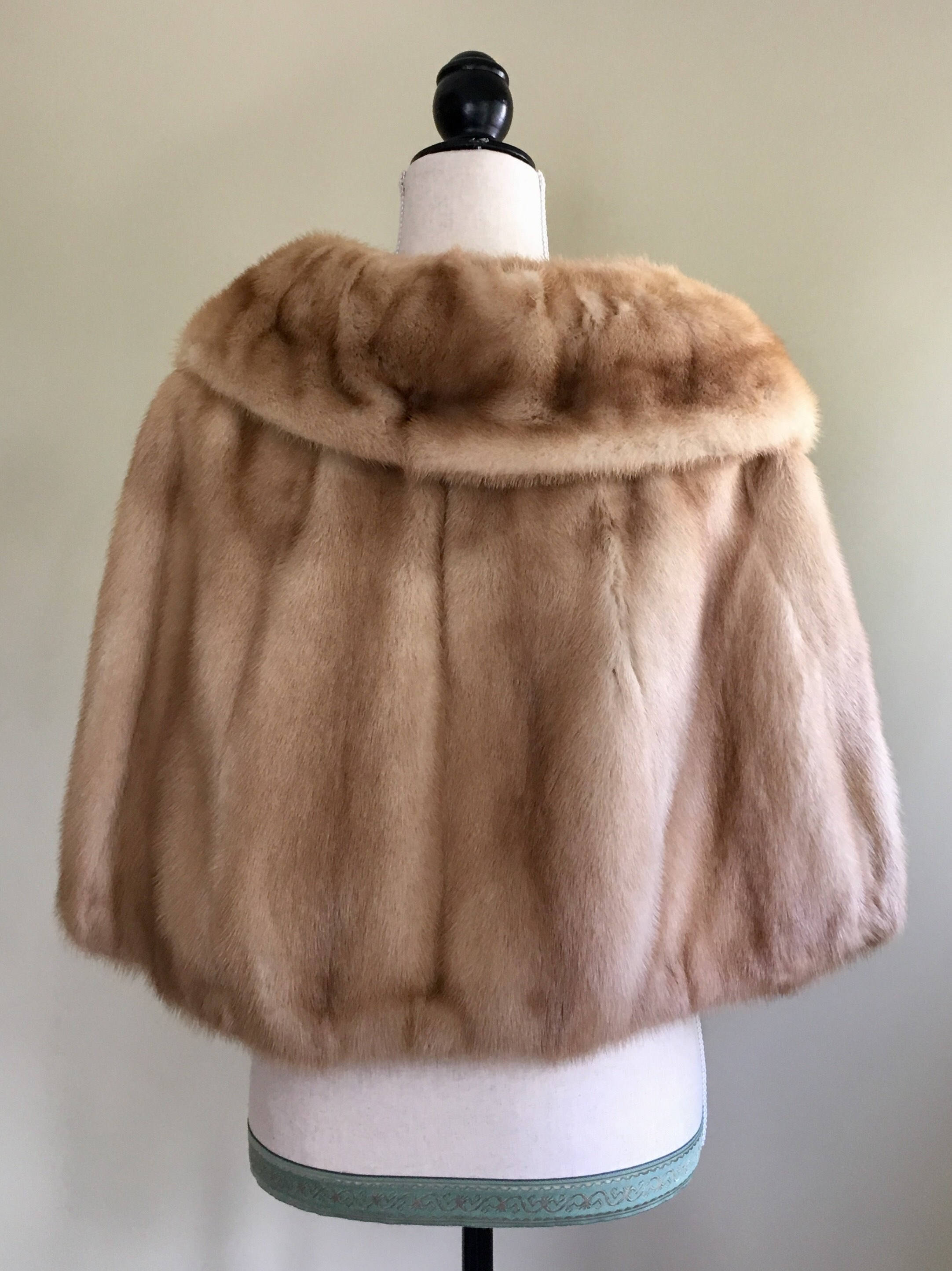 Vintage Blonde Mink Wrap Fur Stole Shrug Capelet Bolero