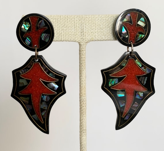Black Dangle Earrings Western Style Cut Out Vintage Plastic with Crushed Red Coral and Abalone