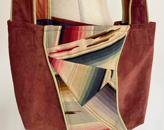 Repurposed Antique Serape Bag Purse Handmade Vintage Faded Ultrasuede Inset Mexican Blanket Textile Detail Fully Lined