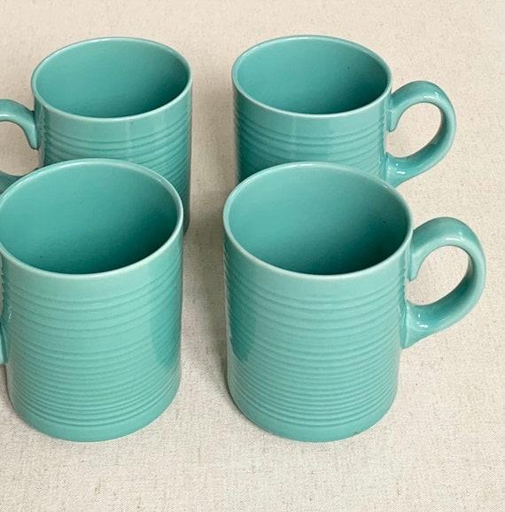 Mid Century Mugs Aqua Turquoise Blue Set of Four Coffee Cups Vintage MCM Made in Japan Signature Stoneware Japan