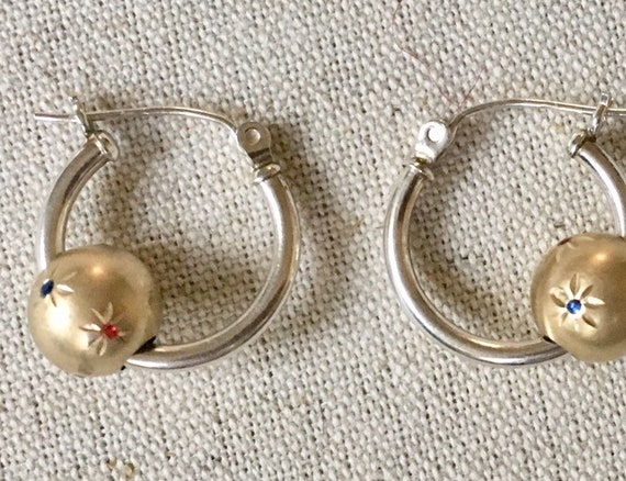 Sterling Silver Hoop Earrings Vintage Hoops with Gold Ball Crystal Stars Holiday Jewelry