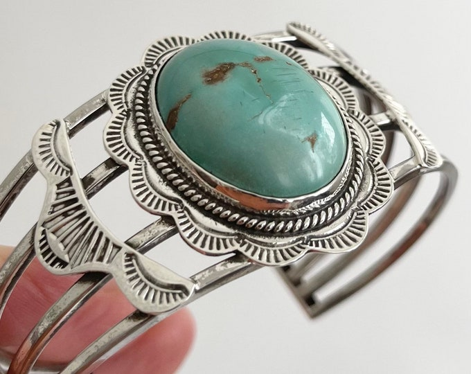 Wide Navajo Turquoise Cuff Bracelet Vintage Native American Sterling Silver Turquoise Stones Twisted Rope Stamped Details Old Pawn Jewelry