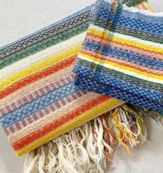 Boho Cotton Table Linen Set Tablecloth 4 Napkins Vintage 70's Ethnic Bohemian Tribal Striped Woven Fringe
