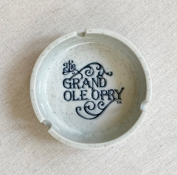 Grand Old Opry Ashtray Vintage Nashville Tennessee Country Music Souvenir Faux Stoneware Made in Japan