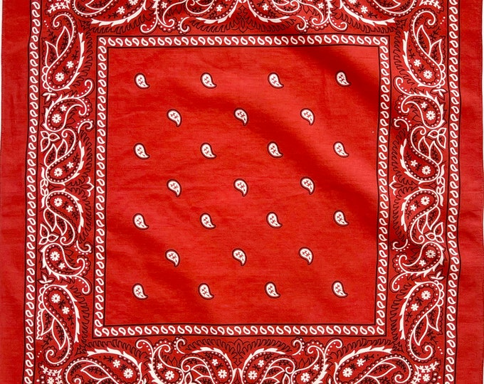 Faded Brick Red Bandana Vintage 60s Fast Color Faded Black White Paisley Print Soft All Cotton