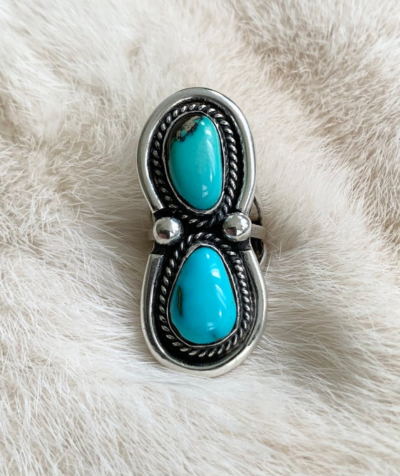 Long Turquoise Ring Two Double Multi Stone Vintage Native American Navajo Sterling Silver Elongated Statement Ring Size 6