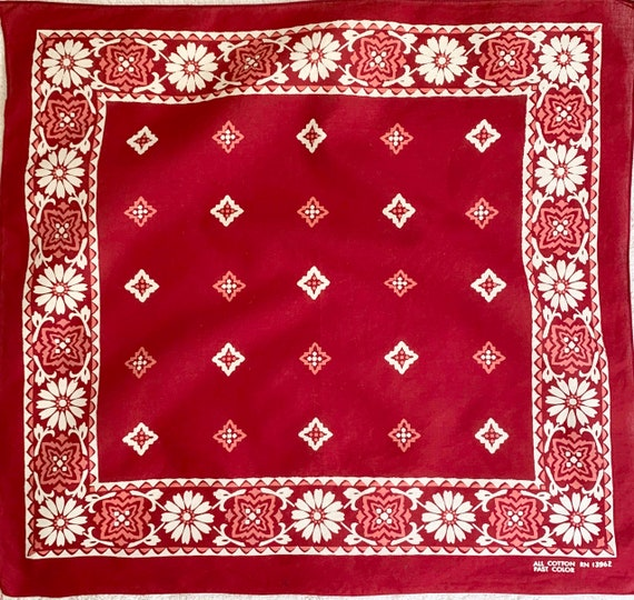 Burgundy Fast Color Bandana Rare Floral Print Vintage 60s 70's All Cotton Lightweight Weave White Pink