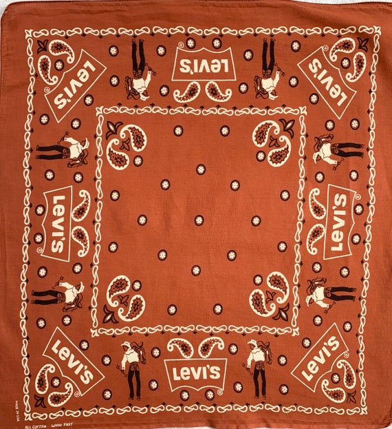 Collectible Levi's Bandana Brick Red Brown Vintage Cowboy Lasso Ranch Saddle Logo Print Scarf with Selvedge Edge Very Rare Color