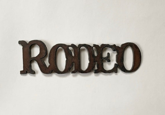 Rodeo Forged Iron Plaque Sign Decal Medallion Vintage Western Home Ranch Cowboy Cabin Man Cave Decor