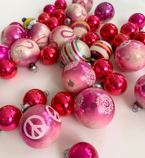 Pink Magenta Christmas Ornaments Glass Bulbs Mixed Lot of 41 Vintage Mid Century Retro Christmas Decor Glitter Swirl Peace Sign Striped