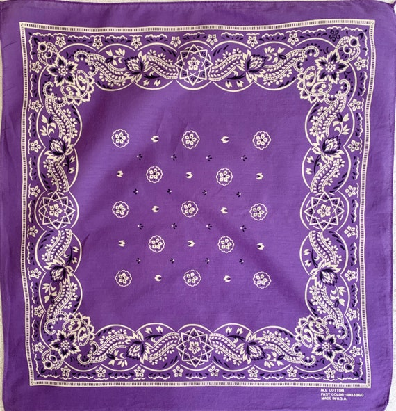 Purple White Bandana Vintage 60s 70s All Cotton Fast Color Made in USA RN 13960 Paisley Floral