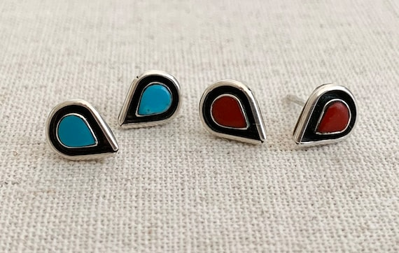 Tiny Turquoise Teardrop Earrings Vintage Native American Handmade Sterling Silver Studs Red Coral