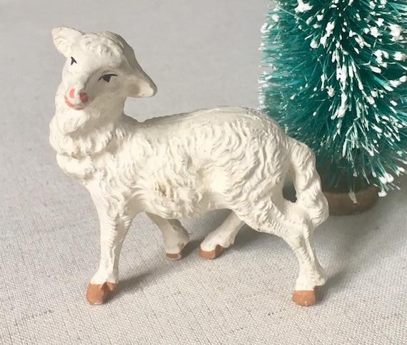 Miniature Chalkware Sheep Lamb Figurine Vintage Nativity Scene Animal Spring Easter Holiday Decor