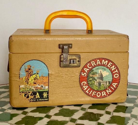 Vintage Travel Case Western Souvenir Stickers Interior Mirror California Utah Grand Canyon Rustic Home Decor