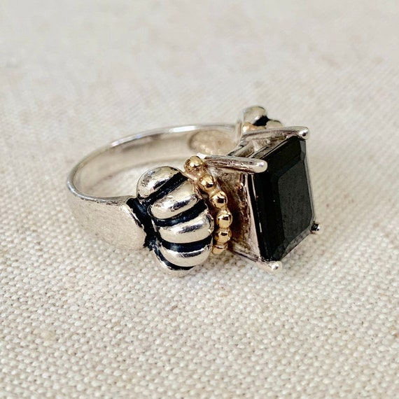90s Clyde Duneier Ring 14K Gold Sterling Silver Black Crystal Vintage Puffy Ribbed Band Women's Jewelry Size 7.25