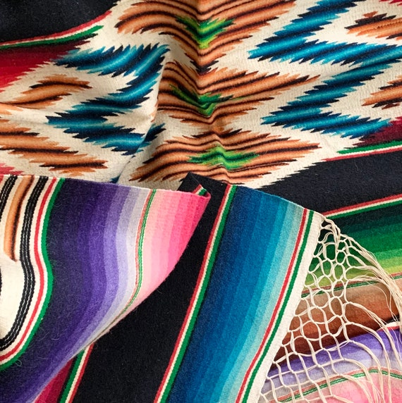 Vibrant Antique Serape Blanket Throw Vintage 30s 40s Woven Mexican Saltillo Wall Hanging Stunning Excellent Condition