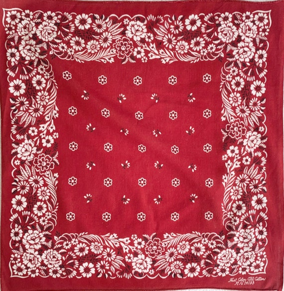 60s 70s Burgundy Bandana Vintage Color Fast Soft All Cotton Western Cowboy Dark Red Wine White Black Floral Rose Print Made in USA