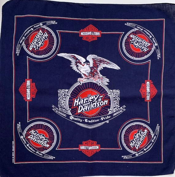 Indigo Harley Davidson Bandana All Cotton Made in USA Vintage Navy Dark Blue Red White Biker Motorcycles Quality Tradition Pride