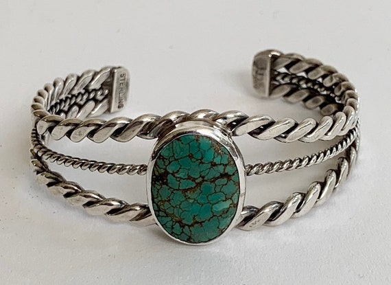 Navajo Turquoise Cuff Bracelet Vintage Native American Sterling Silver Turquoise Stones Twisted Rope Band Spiderweb Matrix Stone