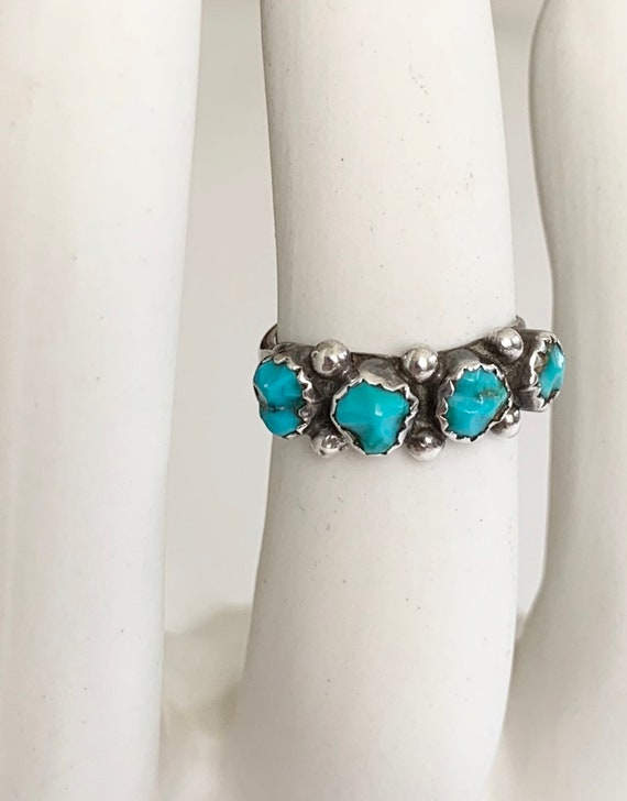 Petit Point Turquoise Ring Band Vintage Native American Zuni Sterling Silver Stackable Size 7