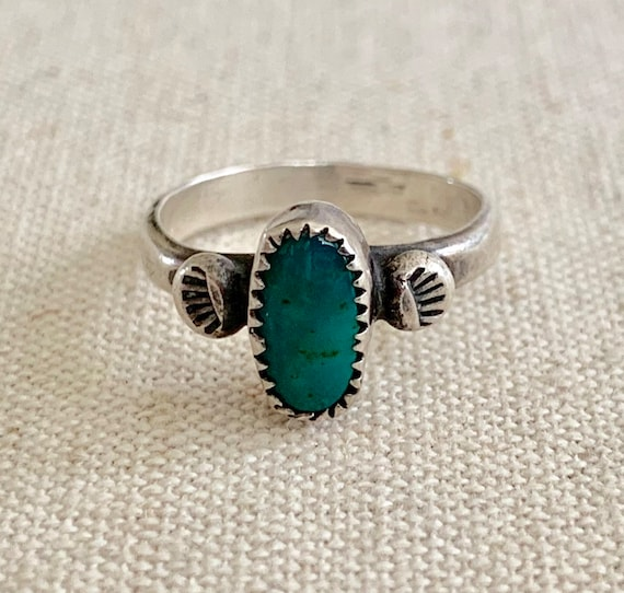 Tiny Turquoise Pinkie Ring Native American Navajo Sterling Silver Dainty Delicate Small Thin Green Turquoise Vintage Rings Size 4.5