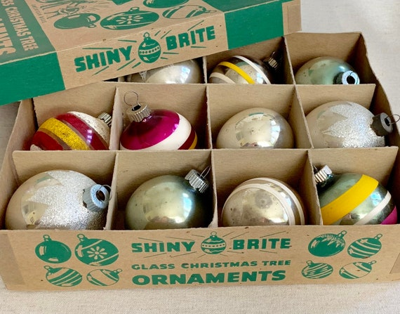 Shiny Brite Glass Ornaments Bulbs Indents Striped Glitter Lot of 12 in Shiny Brite Box Silver Pink