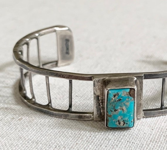 Old Navajo Turquoise Bracelet Cuff Native American Rare Sterling Silver Ladder Lattice Band Artist Signed KAT Women's Small Petite Wrist